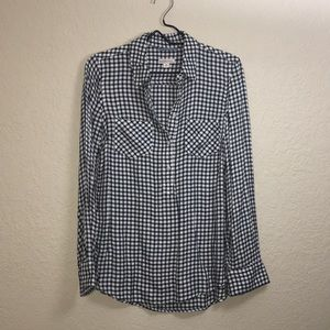 NWOT Black and White Check Button Front Shirt